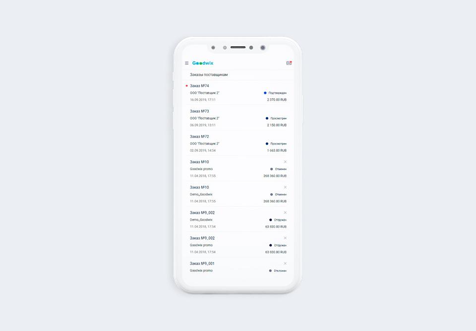 Статьи Goodwix – статусы оптовых заказов в мобильном