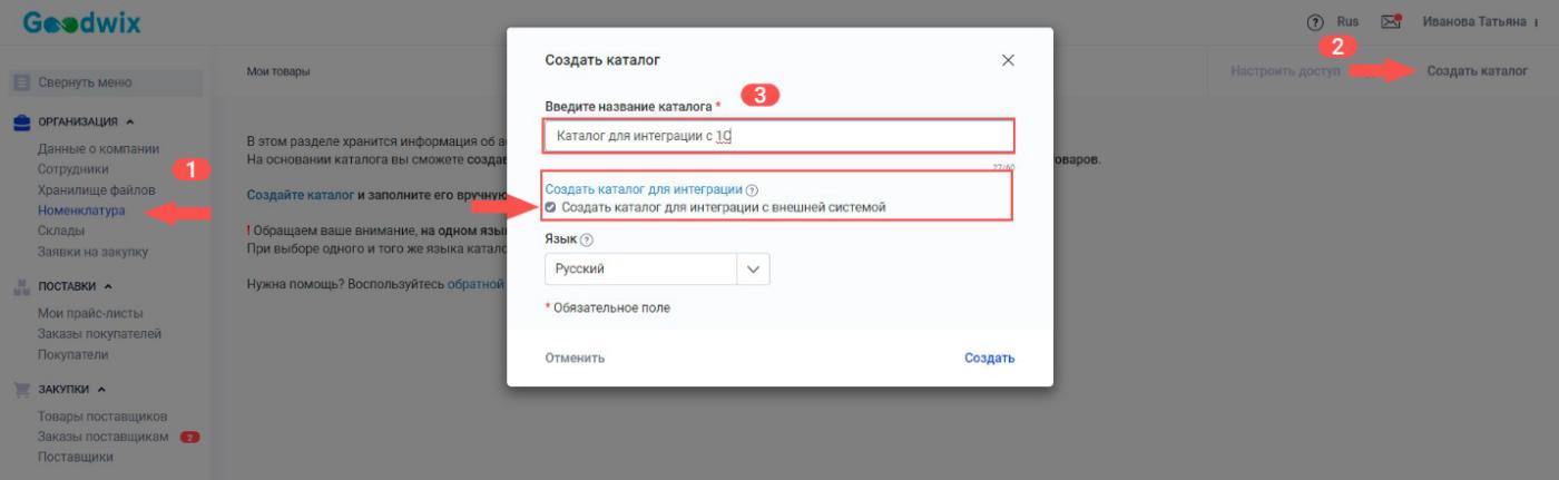 Создание каталога для интеграции с учетной системой_Руководство по работе с каталогом