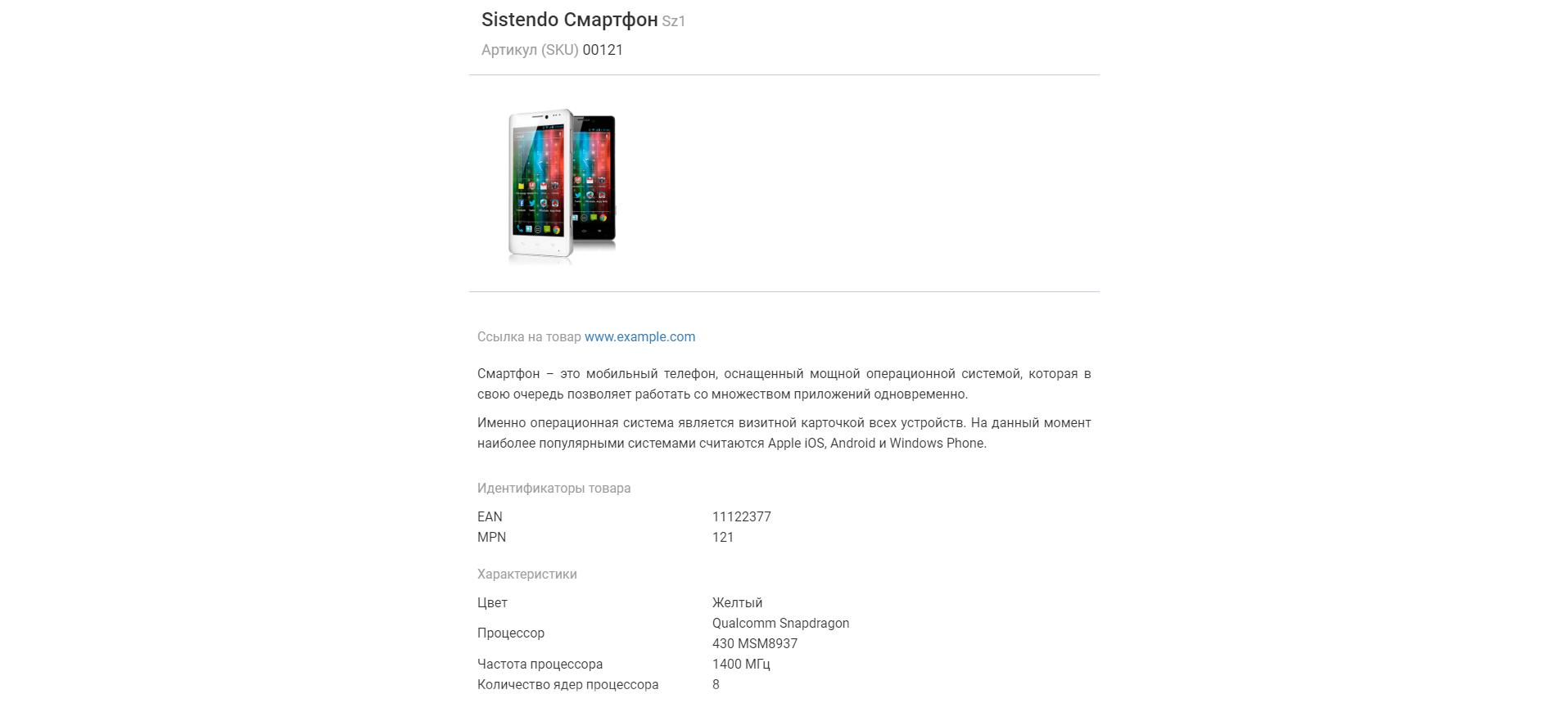 Электронная карточка товара в Goodwix_Руководство по работе с покупателями