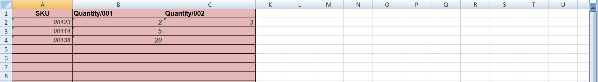Пример заполнения файла Excel для импорта заказа в сервис