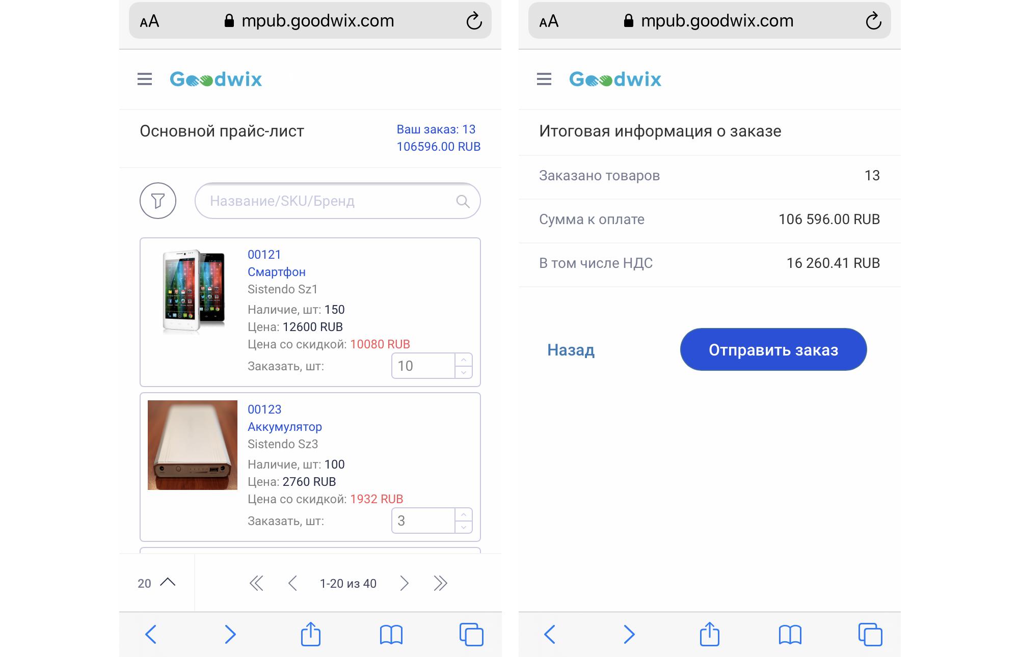 Прайс-лист в мобильной версии Goodwix